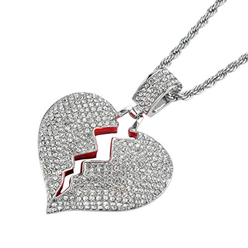 PAMTIER Men's Silver Plated Iced Out Full Diamond Broken Heart Pendant Necklace Chain Charming Hip Hop Jewelry