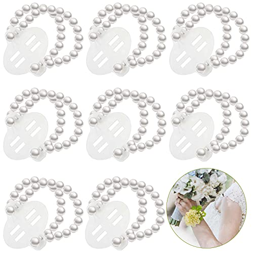 8 Pieces Elastic Pearl Wrist Corsage Bands Wristlets Stretch Pearl Wedding Wristband Faux Pearl Bead Corsage Accessories Bracelets for Wedding Party Prom Bride Bridesmaid Handmade Corsage