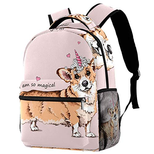 Welsh Corgi Dog with A Pink Unicorn Horn and Chamomile Flowers Backpack for Teens School Book Bags Travel Casual Daypack