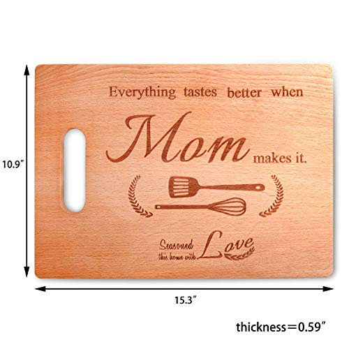 Mother's Day Gift - Christmas Day Gift,Beech Cutting Board With Easy-Grip Handles - 15.3x10.9...