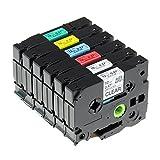 Anycolor kompatible Schriftband als Ersatz für Brother P-touch TZe-131-231-431-531-631-731, schwarz auf klar/weiß/rot/blau/gelb/Grün laminiert Tze Band für PT-D210VP 1010 D400 H105 H100LB 1000, 6-Pack