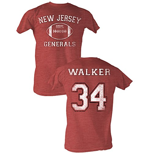 A&E Designs USFL T-Shirt NJ Generals Walker Red Heather Tee Front & Back, XL