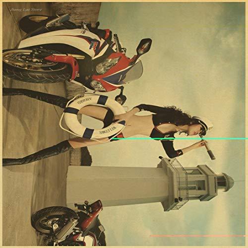 zxddzl Kraftpapier Poster Motorrad Retro Bar Cafe Wohnzimmer Wand Kunsthandwerk