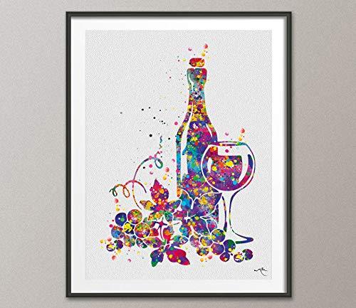 Vinos de acuarela de impresión de barra de decoración de copa de vino decoración decoración de cocina decoración de alcohol bebida hogar fiesta decoración de saludo celebración vino regalo 948