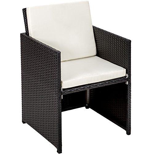 TecTake Poly Rattan Aluminium Gartengarnitur Sitzgruppe 6+1+4, Edelstahlschrauben - Diverse Farben - (Schwarz | Nr. 401454) - 3