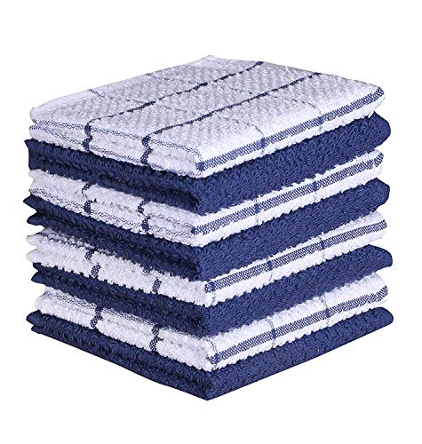 AMOUR INFINI Cotton Terry Kitchen Dish Cloths | Set of 8 | 12 x 12 Inches | Super Soft and Absorbent |100% Cotton Dish Rags | Perfect for Household and Commercial Uses | Blue