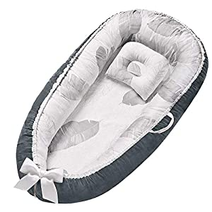 crib bedding and baby bedding baby nest baby lounger soft baby bed portable crib with pillow 100% cotton & breathable newborn lounger shower gifts essential
