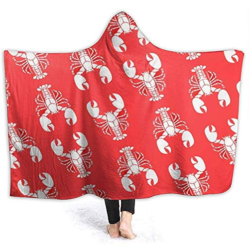 Cathycathy Manta con Capucha de Langosta roja de Dibujos Animados Sudadera con Capucha de Abrigo con Capucha Manta portátil Sherpa con Capucha
