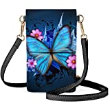 HUGS IDEA Butterfly Patter Touch Screen Purse Fits Most Smartphone Keeps Cash, Credit Cards, Phone Screen Safe