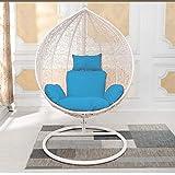 Yuany Cuscino del Sedile della Sedia sospesa Altalena,Cuscino per Sedia Amaca a Uovo Appeso Cuscino per Sedia a Dondolo Morbido Antiscivolo (Colore: Blu)(NESSUN Sedia)