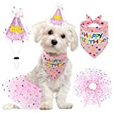 SCENEREAL Dog Birthday Bandana with Hat and Dress Girl Set, Puppy Birthday Party Supplies, Cute Pink Tutu Skirt Outfit for Small Medium Dogs