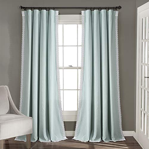 """Lush Decor Blue Rosalie Window Curtains Farmhouse, Rustic Style Panel Set for Living, Dining Room, Bedroom (Pair), 84"""" x 54, 84"""