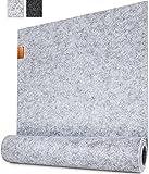 Miqio ® - Design Tischläufer aus Filz abwaschbar   Marken Label aus Echtleder   Tischband 150x40 cm   Skandinavische Deko - passend Tischsets, Platzsets, Tischdecken   grau meliert