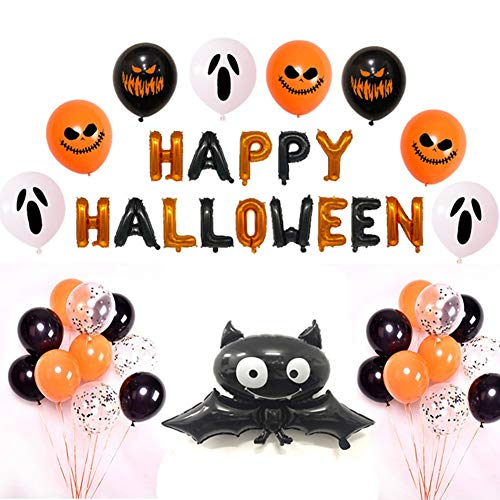 HMMJ Halloween-Party-Dekoration Luftballons Set, Spinne, Katze, Fledermaus, Kürbis-Geist Happy Halloween Folienballon, Latex Luftballons Mit Konfetti Und Scary Emoji for Bar Home Decor (Color : Bat)