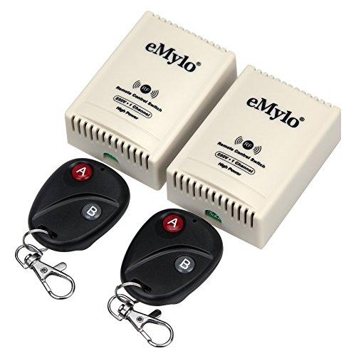 eMylo RF Relé 220V-230V-240V 3000W 30A Interruptor de control remoto inalámbrico de 2 x 1canal 433Mhz Módulo de relé inalámbrico RF inteligente DIY Interruptor de encendido y apagado con 2 transmisore