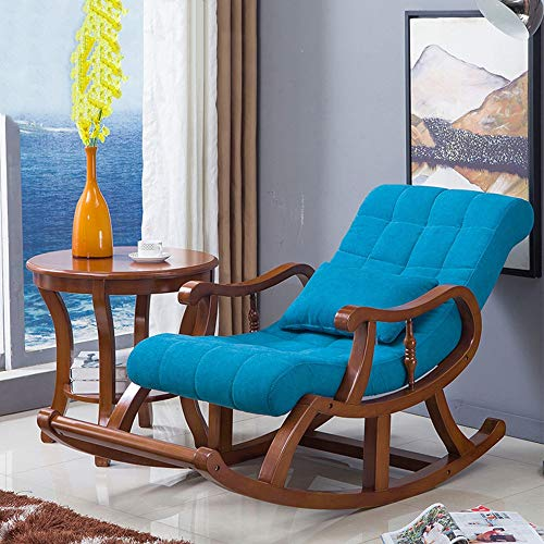 BoeWan Rocking Chairs Patio Seating Wide Wooden Support, Stable and Comfortable Leisure Rocking Chair with Cotton Pad (Color : Sky Blue, Size : M)