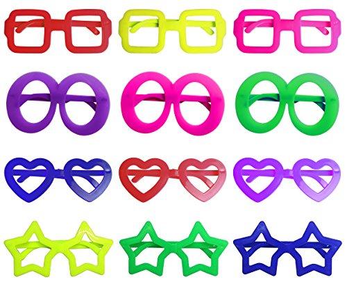 iLoveCos Moda 80 de Punta Plana de Juguete Forma de Estrella Gafas de sol Disfraz Gafas de Persiana para Fiesta Disfraces 6 Colores, 12 Pares (mezclado)