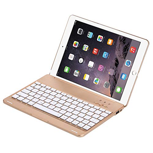 guangcheng Bluetooth keyboard case Bluetooth Keyboard Case For Ipad Air 2/Pro 9.7 Smart 7 Colors Led Backlight Cover With 2800mah Power Bank For Ipad Air Pro 9.7 (Color : Gold)