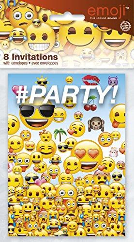 Unique Party 50602 2,13 m x 1,37 m groot plastic tafelkleed met emoji-motief Uitnodigingen Eén maat multicolor