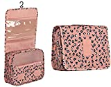 Bolsa de aseo para maquillaje, para colgar, con asa, resistente al agua, organizador para mujeres y hombres, para viajes, vacaciones, camping al aire libre de Discoball, Diseño de leopardo rosa.,