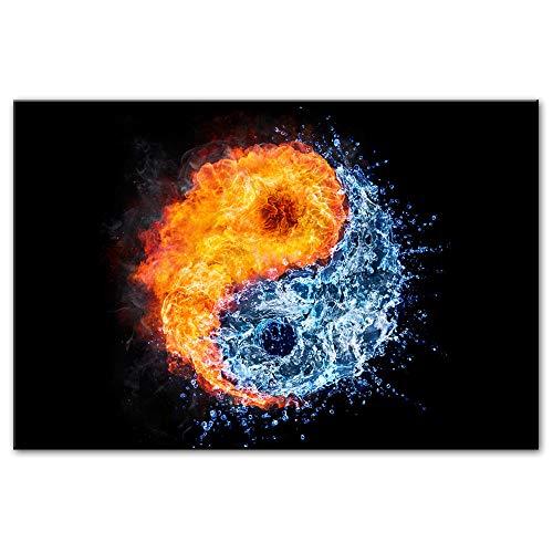 Liangzheng Fuego y Agua Pinturas sobre Lienzo Impresión sobre Lienzo Arte de la Pared Impresiones Arte Pop Yin y Yang Decorado de Pared Imágenes Decoración del hogar 70x100cmx1 sin Marco