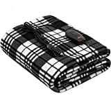 SJC Multifunctional Heated Throw Blanket,40'x60' Travel Electric Blanket with 3-Heat Setting,30/45/60 Minites Auto-Off Controller,Black&White