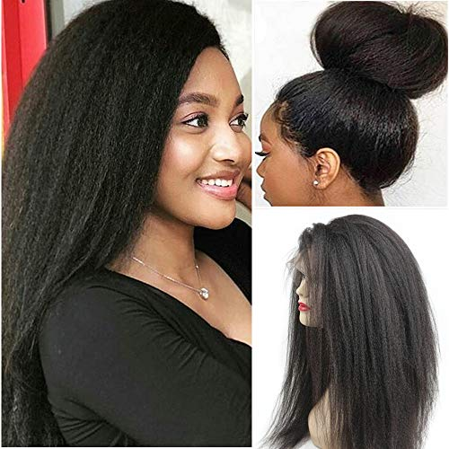 Glueless 360 Lace Frontal Wigs Kinky Straight Human Hair Wig with Baby Hair Pre Plucked Italian Yaki Lace Front Wigs For Women 150% Density Peruvian Remy Hair Natural Hairline (20inch, 360 KS WIG)