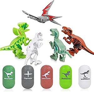 【 5Pcs Easter Egg Toys】 The Easter baskets for kids package includes of 5 pack different dinosaur eggs and 5pack knowledge cards. According to the product instructions, kids can install the dinosaurs easily and starting dinosaur explore travel. 【Dino...