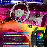 CNSUNWAY Tiras Interiores LED Coche, kit de iluminación con control de APP 4pzs, luces de coche activadas por sonido de música multicolores con diseño 2 en 1, encendedor incluido