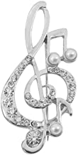 RUIZHEN Crystal Music Note Treble Clef Brooch Pins with Pearls Corsage Suit Jewelry for Women