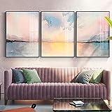 Pintura en lienzo Póster nórdico Impresión de niña Arte de la pared Abstracto Romántico Rosa imágenes junto al mar para la sala de estar Dormitorio Hogar- (50X70cm) 3pcs Sin marco