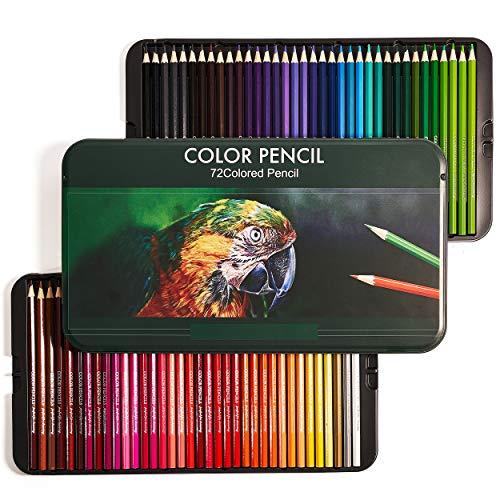 PuTwo Buntstifte, 72 Stück Nummerierte Buntstifte mit Metallbox, Buntstifte Set, Farbstifte, Zeichenstifte, Buntstifte Kinder, Buntstifte für Erwachsene