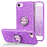 BENTOBEN iPhone SE 2020 Case, iPhone 8 Case, iPhone 7 Case, Glitter Bling Slim 360° Ring Holder Kickstand Support Car Mount Shockproof Protective Phone Case for iPhone SE 2020/iPhone 7/8, Purple