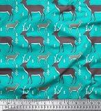 Soimoi Grun Baumwolle Batist Stoff Hirsch Tier Stoff Meterware 56 Zoll breit