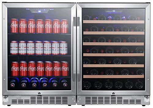 EdgeStar CWBV14253 48 Inch Wide 53 Bottle 148 Can Built-In Side-by-Side Wine and Beverage Center