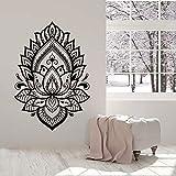 Mandala Lotus Flower Pattern Yoga Studio Logo Namaste Buddha Meditación Etiqueta de la pared Vinilo Arte Calcomanía Dormitorio Sala de estar Oficina Club Decoración del hogar Mural