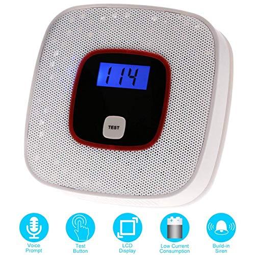 Detectores de monóxido de carbono Alarma de monóxido de carbono, Detector de CO Alta sensibilidad con Display LCD Pantalla Digital (White)