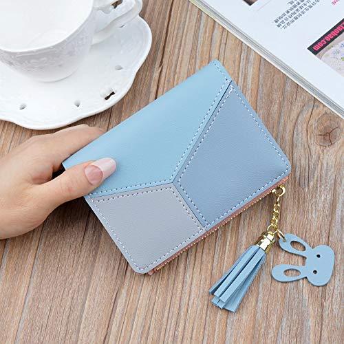 yqs Señoras Monedero Geométrico Mujeres Lindo Rosa Carteras Bolsillo monedero titular de la tarjeta Patchwork Cartera Señora Moda Mujer Corto Moneda Burse Money Bag Azul