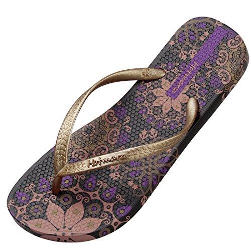 Hotmarzz Damen Zehentrenner Böhmen Blumen Sommer Sandalen Flip Flops Badeschuhe Size 38 EU / 39 CN, Violett
