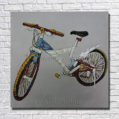 Olieverfschilderij op canvas, Art Graffiti handbeschilderd, olieverfschilderij, kinderfiets, abstracte landscap, olieverfschilderij, wandschilderij, woonkamerdecoratie, 50 x 50 cm