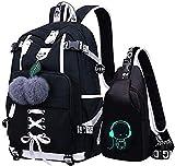 Oxford-gewebe Zweiteiliges Set Schulrucksack für Jungen Schulrucksack Druck Rucksack Jugendlichen Schultasche Outdoor Reflektierender Daypack