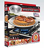 Gotham Steel Smokeless Stovetop Nonstick Healthy Indoor Kitchen Korean BBQ Grill with Drip Tray, Ceramic Copper Coated, Dishwasher Safe, 1 Pack, Brown