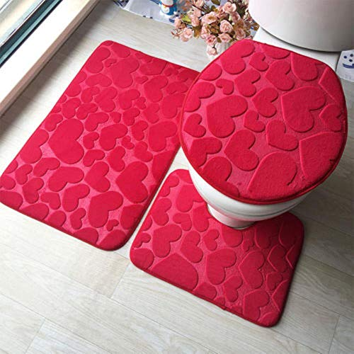 3 stuks badkamer antislip vloerkleed + deksel, toiletdeksel + badmat wasbaar set rood