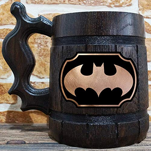 Batman Beer Mug, Wooden Beer Stein, Geek Gamer Gift, Batman Animated Series Tankard, Gift for Men, Arkham Gift for Him