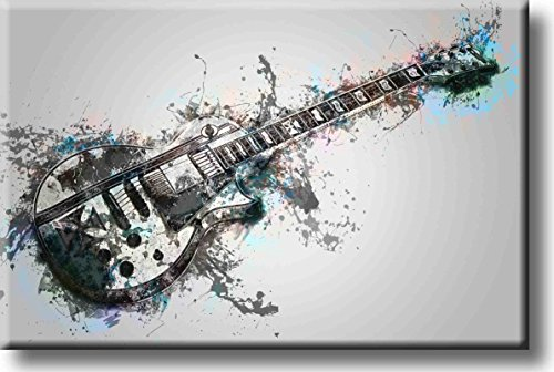 Gray Electric Guitar Picture on Stretched Canvas, Wall Art Décor, Ready to Hang