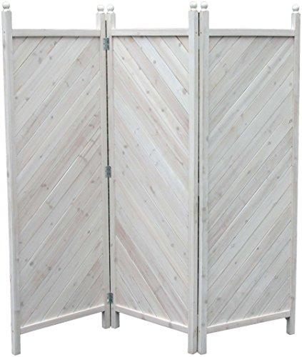 GRASEKAMP Qualität seit 1972 Paravent 3tlg Raumteiler Trennwand Sichtschutz Kiefer Weiss München