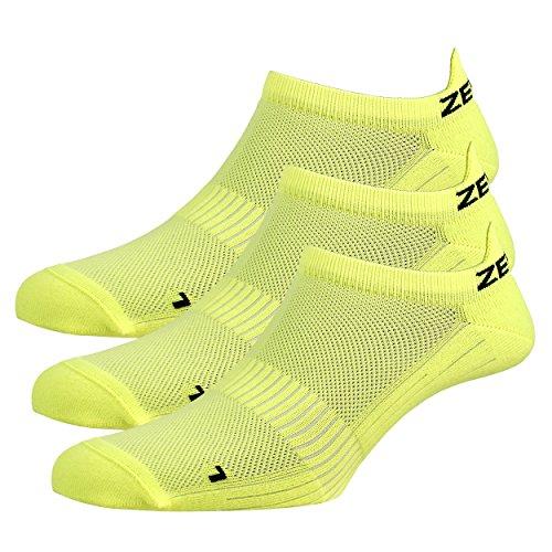 Zen Core gelbe Sneaker Füßlinge 3, 6, 12 Paare, Größe 40-43 und 44-47 für Herren, kurze Socken, Sport&Freizeit, Laufsocken, Fitness, Fahrradfahren, Running Socken, Atmungsaktiv, Antiblasen