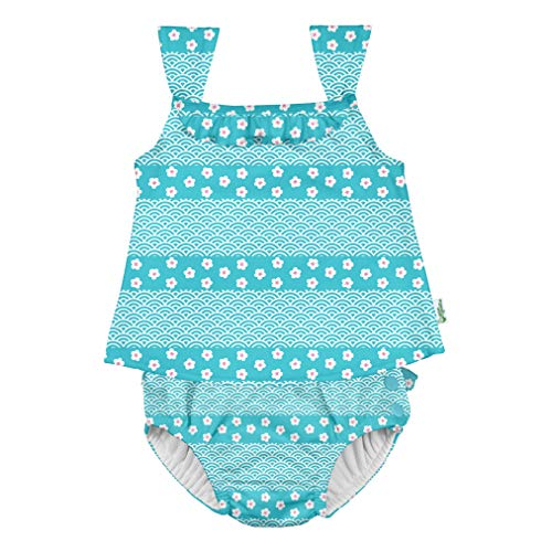 i play. by green sprouts baby girls Two-piece Swimsuit W/ Built Reusable Swim Diaper Tankini Set, Aqua Blossom Stripe, 3T US