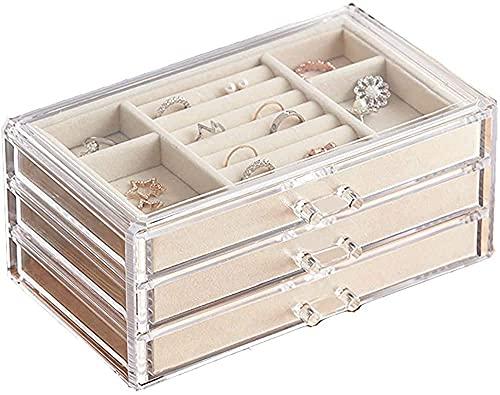 Joyero para mujer con 3 cajones, anillo y cajón para pendientes (crema transparente)
