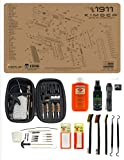 EDOG 29 Pc Pistol Cleaning System - Compatible with Kimber 1911 Compact & Pro - Tan - Schematic (Exploded View) Mat, Range Warrior Universal .22 9mm - .45 Kit & Clenzoil CLP & Hoppes Gun Oil & Patchs